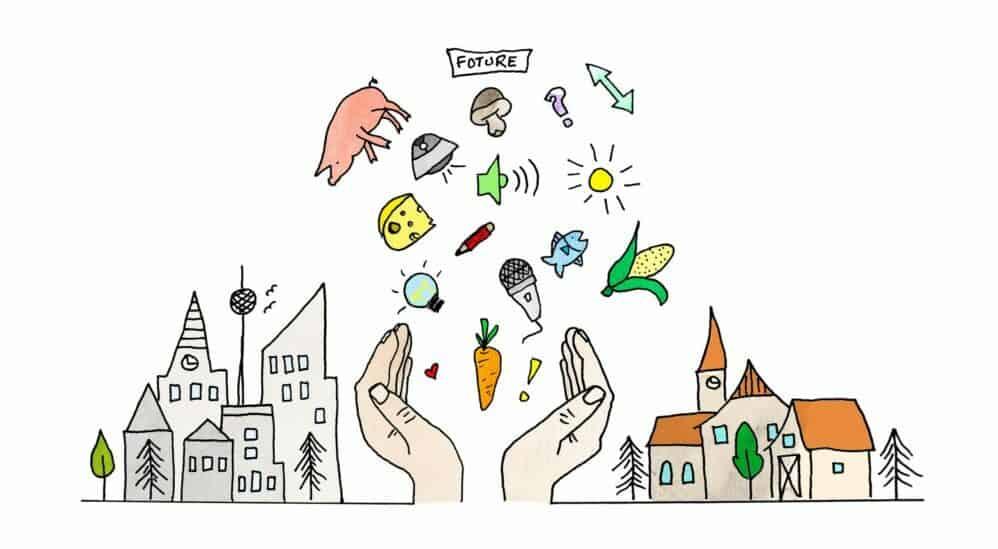 offene Hände mit den vielen Themen von BauertothePeople